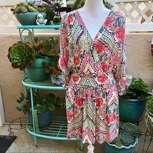 Maeve Deep V Neck Print Mini Dress